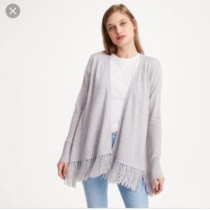 Club Monaco cashmere fringe sweater